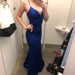 Royal blue Satin Gown